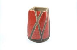 Vaso raku rosso