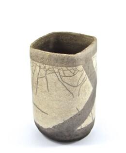 vaso raku bianco e nero